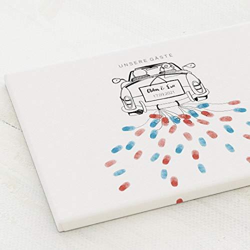 sendmoments Leinwand Fingerabdruck, Blechdosen Auto Hochzeit, Querformat 40x30 cm, personalisiert mit Text, kreative Verewigung der Gäste, originelles Gästebuch, optional mit Stempelkissen