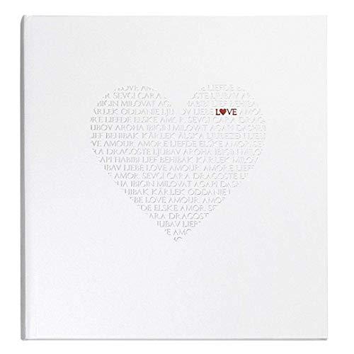Goldbuch Gästebuch mit Lesezeichen, Love, 25 x 23 cm, 176 weiße Blankoseiten Schreibpapier, Beschichtetes Papier mit Silber- und Rotprägung, Weiß, 48080