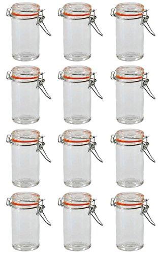 Einmachglas Vorratsglas mit orangenem Silikonring und Bügelverschluss 70 ml 250 ml 500 ml 1000 ml, Größe/Stückzahl:250 ml / 12 Stück