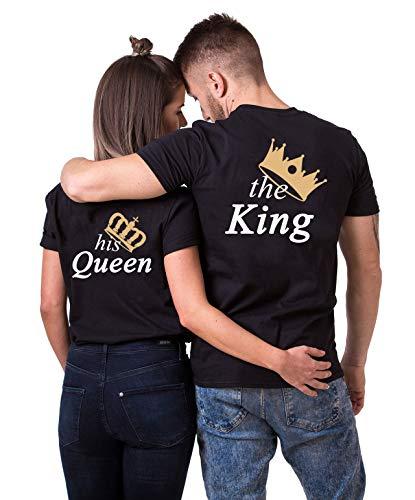 Daisy for U King Queen Pärche Shirts Set für Paar Partner Look T-Shirt Velentienstag Geschenk Tops Paare Baumwolle mit Aufdruck, King(herren)-schwarz, M