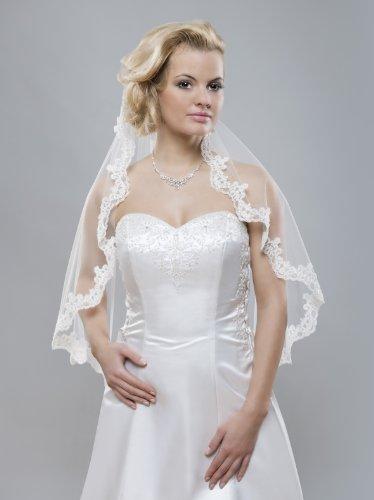 Klassisches Braut Accessoire Elbow Schleier aus Tüll mit Kamm und Spitzenborte und Glasperlen, ivory, 80cm einstufig einlagig