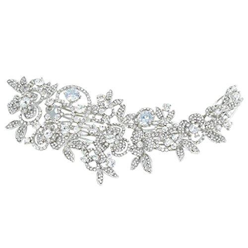 EVER FAITH® CZ österreichischen Kristall Blume Muster Großer Braut Haarkamm Haarschmuck Silber-Ton