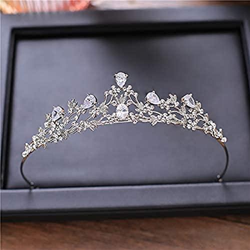 Changlesu Diadem Tiara Kupfer Zirkon Damen Krone mit Inlay Kristallblume Braut Diadem Hochzeit Haarschmuck Strass Kronen(Silber )