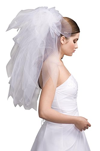 MGT-Shop Design Brautschleier Nr.100 Schleier mit Tüll und Swaroswkisteinen Brautkleid Feintüll weiß creme champagner ivory 70/120 cm (ivory)