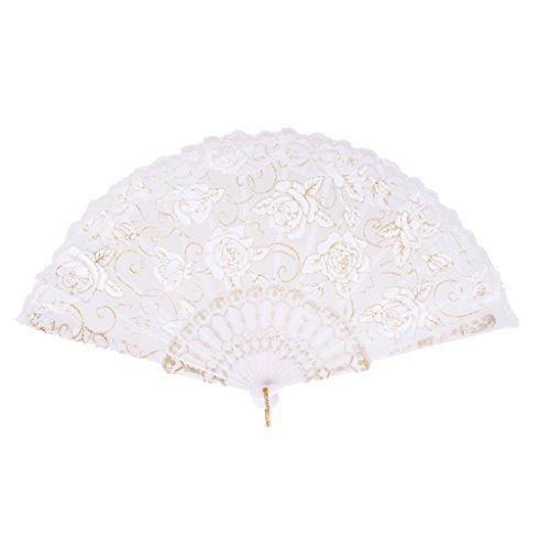 Generic Süßen Stil Faltfächer Handfächer mit Spitze, Rosenblüten, Für Sommer Gelegenheiten, Gartenfeste, Hochzeiten im Freien, Tuch dekorieren, usw. - Weiß