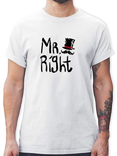 Hochzeit - Mr. Right Pinsel - S - Weiß - Shirt mr Right - L190 - Tshirt Herren und Männer T-Shirts