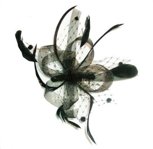 (Cream Net/Feather Bow Fascinator)Retro Cremefarbenen Femme Fatale Haarspange/Fascinator mit Netz und Federn