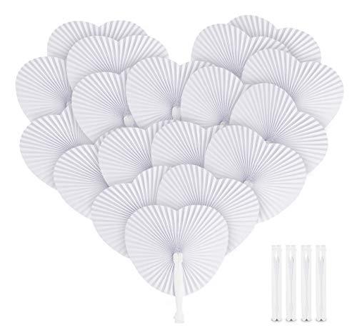 Sweelov 36 STK. Fächer Hochzeit Papierfächer Herzförmiges Weiß Papierfächer Faltbar Taschenfächer für Hochzeit Bevorzugung Party Beutel Füller