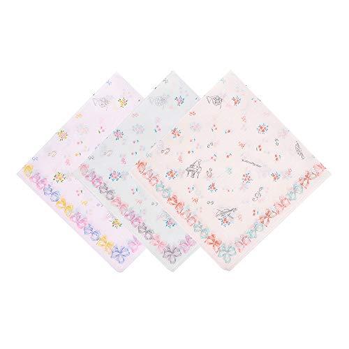 OLESILK Damen Taschentücher Stofftaschentücher mit Instrumente Note und Blumen Muster 100% Baumwolle 3 Stücke Geschenk-Set, ca. 40x40cm