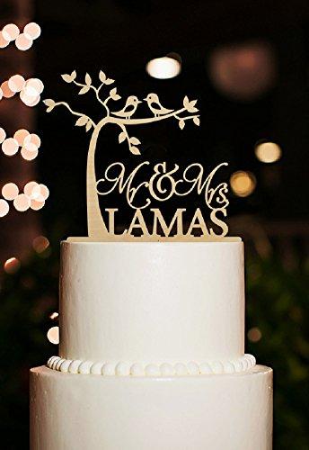 Personalisierter Herr und Frau Cake Toppers Mit Namen Rustikal Cherry Tree Kuchen Topper mit Kiss Birds für Hochzeit