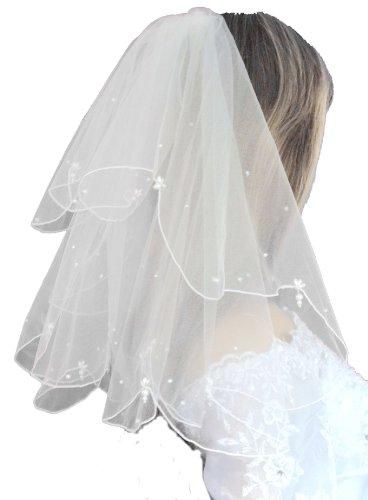 LadyMYP© 2lg Außergewöhnlicher-Brautschleier mit Perlen und Strass, 45cm oder 63cm, ivory oder weiß (30 cm * 45 cm, weiß)