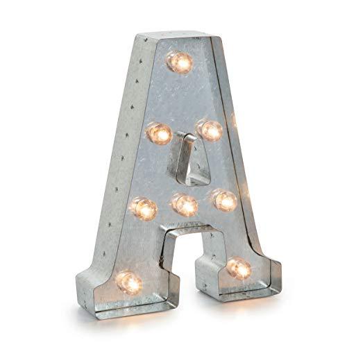 Darice LED Metal-Buchstabe A, Metall, Silver, 25.5 x 19 x 5 cm