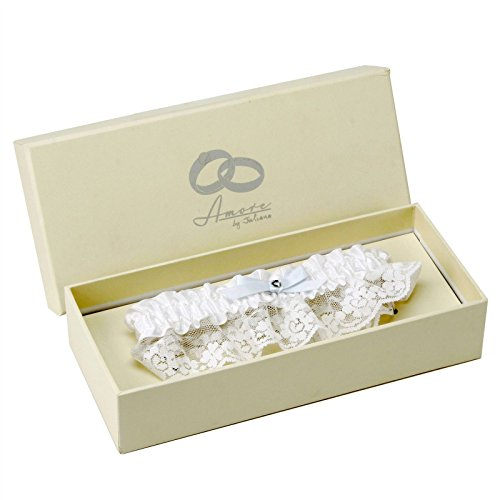AMORE WHITE LACE AND SATIN GARTER