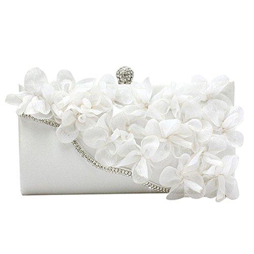 MNBS Damen Abendtasche Clutch elegant Handtasche mit künstlichen Diamanten Pailletten Strass Glitzer auffällig Blumenblätter Schnallverschluss Weiß