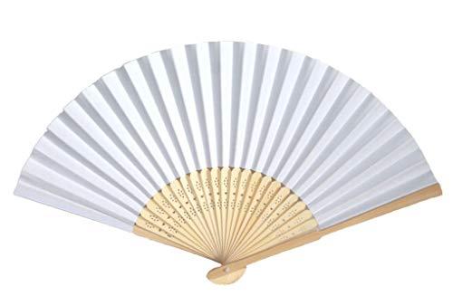 AAF Nommel®, 20 STK. Hochzeitsfächer, Papierfächer auch zum Beschriften/Bemalen in Weiss, Bambusholz Nr. 410