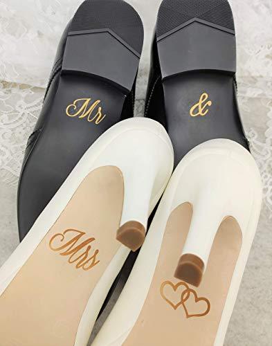 Schuhsticker Set'Mr & Mrs' mit Herzen - 13 Farben wählbar - Hochzeit Schuhaufkleber Farbe wählbar - Aufkleber für Schuhe