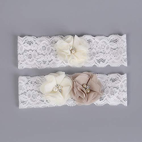 Charm4you Garter Strumpfband Hochzeitsstrumpfband,Spitzenstrumpfband für Brautbeine-weiß_10pcs,Elegantes Strumpfband für die Braut