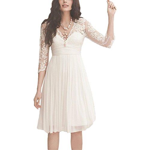 YASIOU Hochzeitskleid Kurz Elegant Damen Weiß A Linie Tüll Spitze Knielang 3/4 arm Brautkleider mit ärmel
