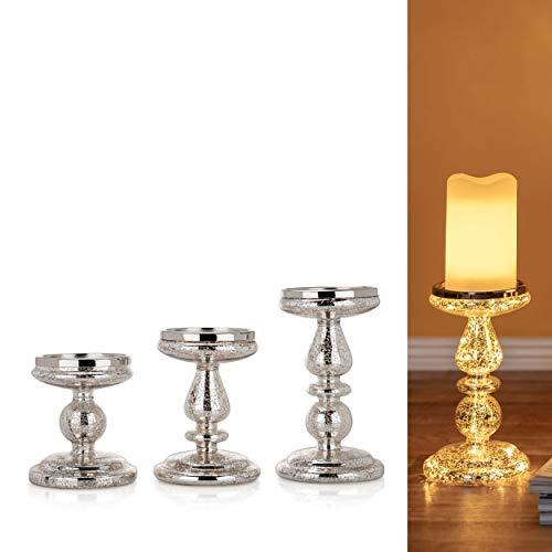 3er Set Kerzenständer für Stumpenkerzen mit LED Beleuchtung (Lichterkette) und Timer - Kerzenhalter aus Glas (Silber)