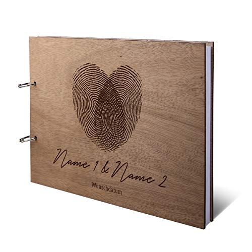 Hochzeit Gästebuch Okoume Holz Gravur individuell Holzcover mit 144 Naturpapier Innenseiten DIN A4 quer 305 x 215 mm - Fingerabdrücke