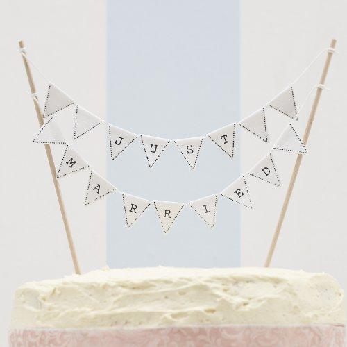 Gerade geheiratet Vintage Wedding Kuchen Bunting - Hochzeitstorte Topper