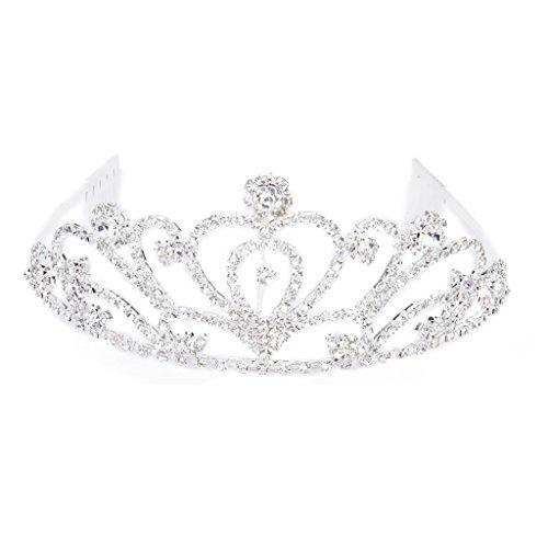 Tiara Mode Strass Braut Krone Stirnband mit Kamm Diadem Hochzeit