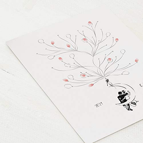 sendmoments Poster für Fingerabdrücke, Moon Hochzeit, Hochformat 30x40 cm, personalisiert mit Text, kreative Verewigung der Hochzeitsgäste, originelles Gästebuch, optional mit Stempelkissen