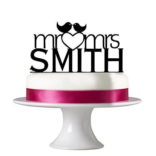 Herr und Frau personalisierbar Hochzeit Cake Topper, mit Kiss Birds Acryl Verlobungsring Kuchen Topper