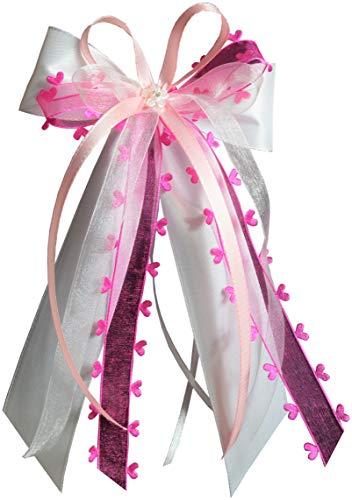15 Antennenschleifen Autoschleifen Autoschmuck Heart Hochzeit erhältlich (weiß/pink/rosa SCH0138)