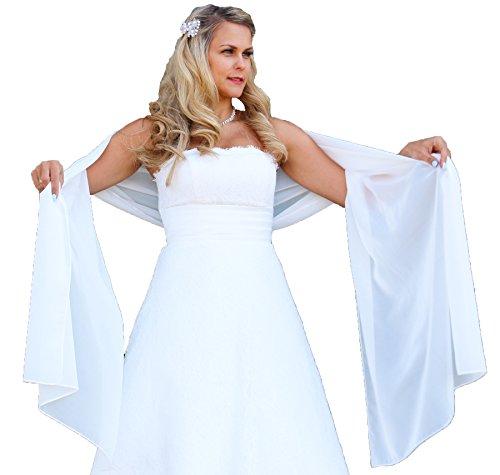 Unbekannt Schal Brautkleid Stola Umschlagtuch Chiffon weiß Ivory Jacke Braut 230x70 Bolero Braut (Ivory)