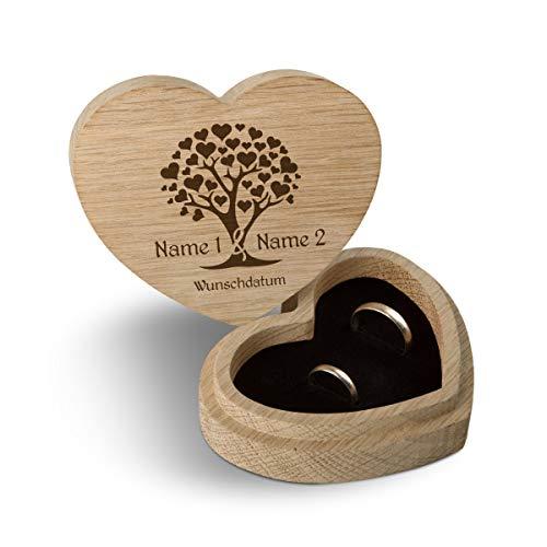 Hochzeit Ringbox Herz Ringkissen Ringschachtel individuell 10 x 8,5 cm Eichenholz - Herzbaum