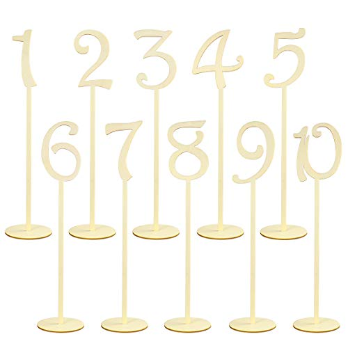 NUOLUX 1-10 Holz Tischnummern Holzform Tischnummern Stick Basis-Set für Hochzeit Geburtstagsparty