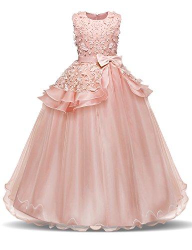 NNJXD Madchen Armellos Stickerei Prinzessin Festzug Kleider Abschlussball Ballkleid, Rosa, 11-12 Jahre / Herstellergröße: 160