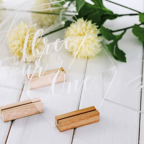 Tischnummern, Acryl Hochzeit Tischnummern mit Halter Basis, Tischnummern 1-10, Sechseck Form Tischnummern für Geburtstagsfeier Hotel Business Reception Hochzeitsdekoration (Sechseck: 1-10)