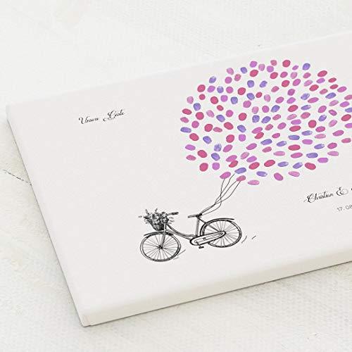 sendmoments Leinwand Fingerabdruck, Fahrrad Vintage Hochzeit, Querformat 40x30 cm, personalisiert mit Text, kreative Verewigung der Gäste, originelles Gästebuch, optional mit Stempelkissen