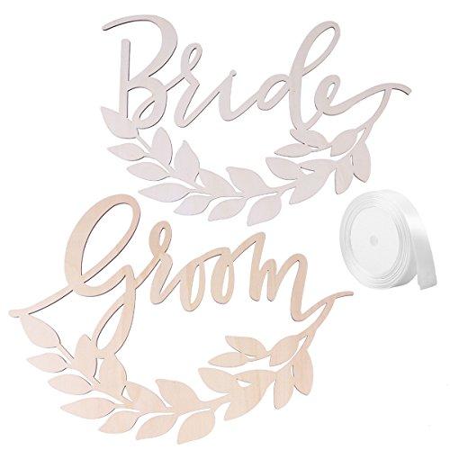 LUOEM Holz Braut Bräutigam Hochzeit Stuhl Banner Set 2 Stücke
