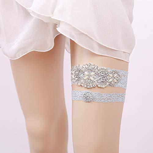YIJIAHUI Strumpfbänder für Bräute Bridal Lace Strumpfband - Hochzeit Strumpfband mit funkelnden Kristallen in Form - MUSS für die Hochzeit - Geschenk für Brautdusche - blau, weiß für die Hochzeit