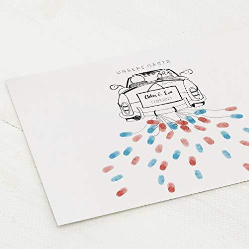 sendmoments Poster Fingerabdruck, Blechdosen Auto Hochzeit, Querformat 40x30 cm, personalisiert mit Text, kreative Verewigung der Gäste, originelles Gästebuch, optional mit Stempelkissen