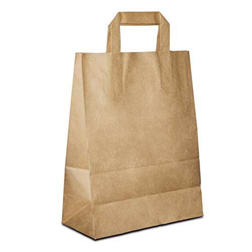 100 x Papiertragetaschen braun 18+08x22 cm | stabile kleine Papiertüten | Papiertaschen Flachhenkel | Paper Bag klein | Einkaufstüten | HUTNER