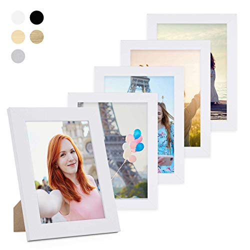PHOTOLINI 5er Bilderrahmen-Set 10x15 cm Basic Collection, Modern, Weiss, aus MDF, inklusive Zubehör/Bilderrahmen-Collage