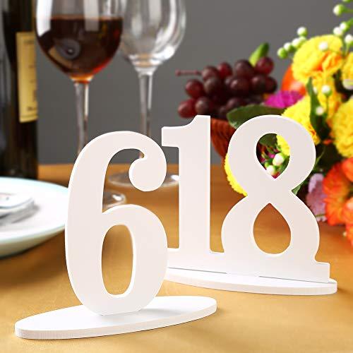 ILFALZT Tischnummern Hochzeit Holz 1-20, Zahlen Tabelle Dekoration Weiß mit Halter Basic für Bankette, Cafés, Restaurants, Hotels, Partys