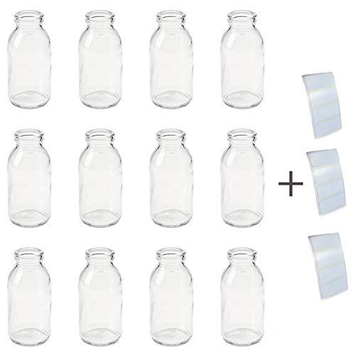 6 Stück Mini Vasen Flaschen mit Jute Natur und Spitze Weiss (2,49€/Stück) kleine Glasvasen fertig dekoriert Vintage Glasflaschen Landhaus Hochzeit Deko