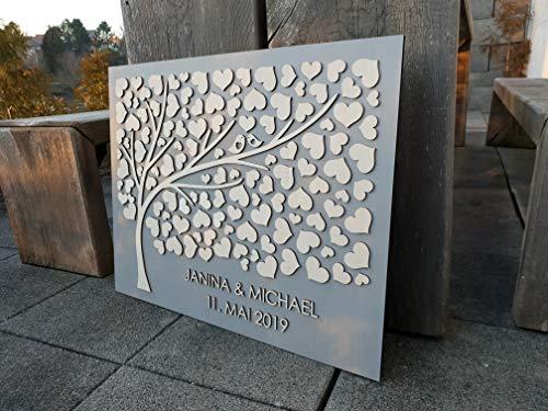 Manschin Laserdesign Personalisiertes 3D Gästebuch aus echtem Holz mit 124 Herzen - Baum - Gästebuch Alternative - (Hintergrundfarbe Grau, 75 x 60 cm)