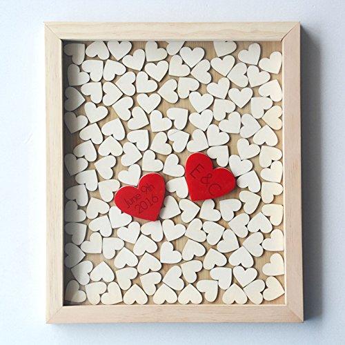 Personalisierte Initiale und Datum Hochzeit Gästebuch Drop Box Sign Holz Herz für 120Gäste