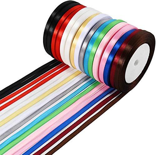 Wtrcsv Satinband 16 Rolle 22m X 6mm, Geschenkband Schleifenband Bänder zum Basteln, Farbe (Weiß Creme Gold Pink Rosa Rot Grün Grau Himmelblau Blau Weinrot Braun Schwarz)