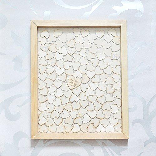 Personalisierte Hochzeit Gästebuch, individuell gestaltete Tropfen Top Drop Box Hochzeit alternative GästeBuch mit 130 Herzen, Rustic Wedding Gift