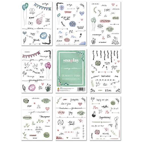 Snaplay I 201 Gästebuch Hochzeit Sticker I Watercolor & Scrapbooking Sticker Hochzeit Design I Wunderschöne Aufkleber für Fotoalbum Hochzeit, Bullet Journal, Gästebuch & Hochzeitsdeko Vintage