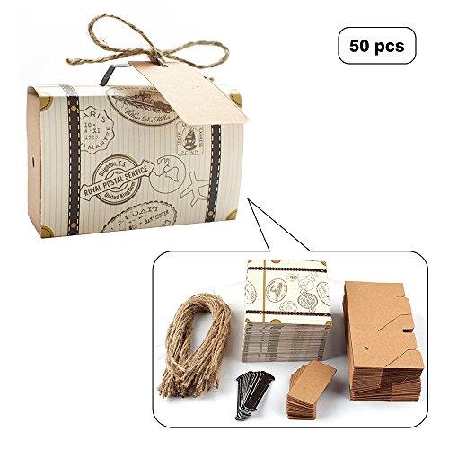 E-Goal 50Pcs/Pack Mini-Koffer Hochzeits-Bevorzugungs-Süßigkeit-Kasten für Hochzeits-Party-Dekoration mit Leinwand-Schnur und Kraftpapier-Umbau