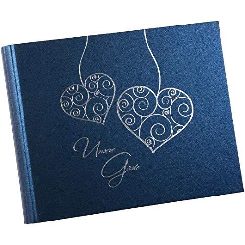 Goldbuch Gästespiralbuch, Two Hearts,  29 x 23 cm, 50 weiße Blankoseiten,  Beschichtetes Papier, Blau, 47010