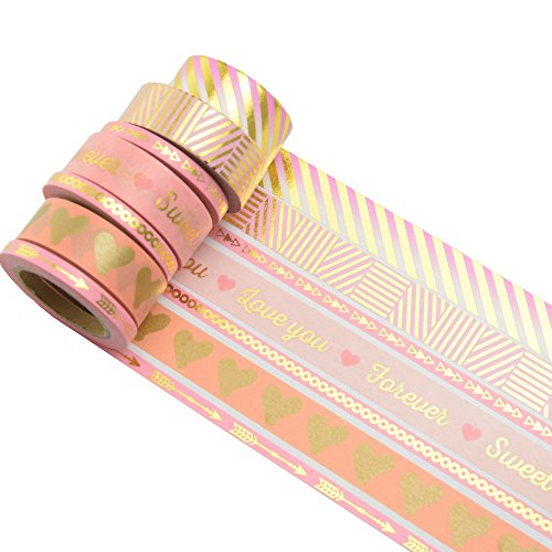 K-LIMIT 7er Set Washi Tape Dekoband Masking Tape Klebeband Washitape Scrapbooking DIY Valentines Valentinstag 9350
